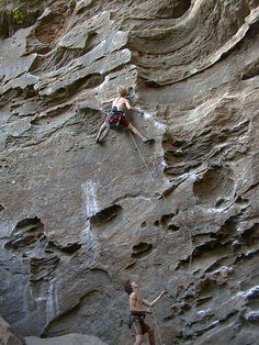 Working on up - Ro Shampo 5.12a, Roadside Crag, Red River Gorge, KY.