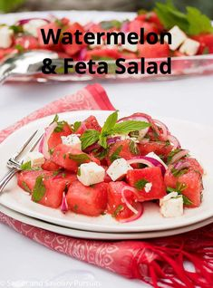This refreshing Watermelon and Feta Salad is the perfect summertime salad. The combination of sweet, salty and tangy ingredients makes this salad entirely addictive. #watermelonsalad #summersalad #watermelon #watermelonfetasalad #SweetandSavouryPursuits Best Salad Recipes, Healthy Salad Recipes, Real Food Recipes, Yummy Food, Delicious Recipes, Vegetarian Recipes, Summertime Salads, Summer Salads, Feta Salat