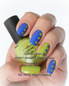 Blue and Lime Retro spotty nails by www.funkyfingersfactory.com