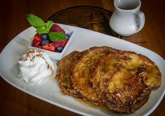 We love the croissant French toast at Cabo Wabo Cantina in #Vegas. A freshly-baked croissant classically prepared into French toast, topped with warm maple syrup, fresh berries, powdered sugar and whipped cream.