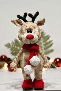 Christmas Crochet Patterns, Crochet Animal Patterns, Stuffed Animal Patterns, Crochet Patterns Amigurumi, Crochet Animals, Crochet Dolls, Amigurumi Doll, Christmas On A Budget, Christmas Deer