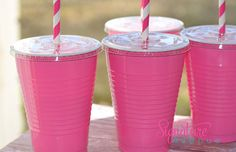 Hot Pink Party Cups16oz Cups Lids StrawsSet of by PartyCupMedley, $12.40