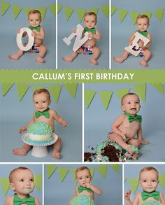 blue and green cake smash session for one year old boy 1st Birthday Cake Smash, First Birthday Cakes, 1st Boy Birthday, First Birthday Parties, Baby Cake Smash, Baby Cakes, Foto One, Bebe 1 An, 1st Birthday Pictures