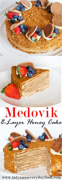 "The famous ""Medovik"" cake: 8 wafer-thin honey cake layers filled with a cre. - The famous ""Medovik"" cake: 8 wafer-thin honey cake layers filled with a creamy custard creme! Russian Honey Cake, Russian Cakes, Russian Desserts, Russian Recipes, Esterhazy Torte, Dessert Crepes, Honey Dessert, Tatyana's Everyday Food, Cupcake Cakes"