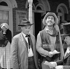 """Milburn Stone as Doc Adams and Ken Curtis as Festus Haggen in the GUNSMOKE episode, """"Circus Trick."""" Image dated June Get premium, high resolution news photos at Getty Images"""