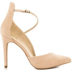 Mia Women's Mona - Nude Suede ($60) ❤ liked on Polyvore featuring shoes, pumps, beige, beige pumps, pointy-toe pumps, suede pointed-toe pumps, suede pointy toe pumps and ankle strap high heel pumps