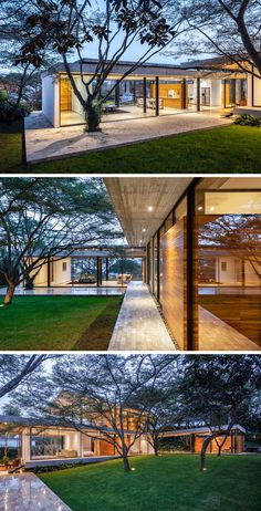 Architecture House Landscape The interiors of this modern house open to a courtyard that showcases the natural topography and the original Algarrobos trees that were on the site. Natural Homes, Natural Home Decor, L Shaped House, Modern House Design, Modern Glass House, Glass House Design, Home Decor Bedroom, Bedroom Beach, Feng Shui