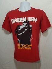 GREEN DAY Mens Red 2009 Concert Band  T-shirt S Small