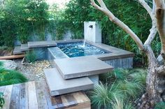 backyard beautiful small pool designs with fountain : Outdoor Beautiful Small Pool Designs. small above ground pool,small inground swimming pool,small swimming pool designs,small swimming pools,small swimming pools ideas Small Backyard Pools, Small Pools, Backyard Patio, Small Backyards, Backyard Ideas, Hot Tub Backyard, Pool Decks, Garden Ideas, Above Ground Pool