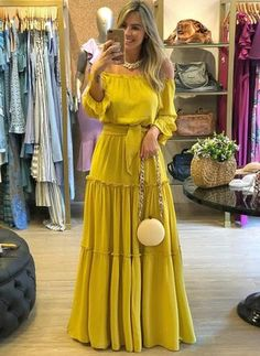 Arabian Yellow General Yellow X-line Dress Day Dresses Sashes Polyester Spring Long Sleeve Maxi Summer Off the Shoulder S M L XL XXL Solid Dress Cute Dresses, Dresses For Sale, Casual Dresses, Floryday Dresses, Buy Dresses Online, Ladies Dresses, Casual Wear, Long Sleeve Maxi, Maxi Dress With Sleeves