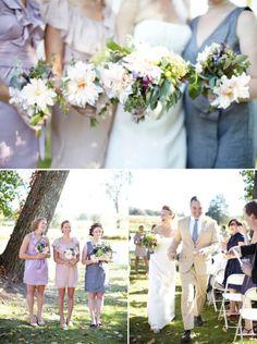 peachy pink dahlias and pastel + grey bridesmaids