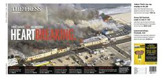 Heartbreaking: Seaside Park boardwalk fire cover, Asbury Park Press, with design by Suzy Palma and Dana Stewart, and photo by Pete Ackerman Fire Cover, Seaside Park, Asbury Park, News Design, Rock N Roll, Suzy, Travel, Studio, Viajes