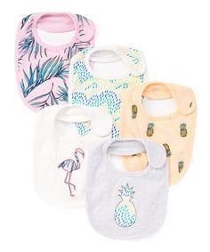 Look at this #zulilyfind! Rosie Pope Baby Peach & Gray Tropical Bib Set - Infant by Rosie Pope Baby #zulilyfinds