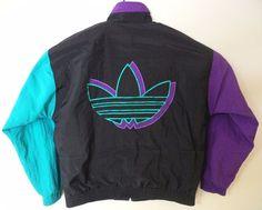 Vtg Adidas Lined Nylon Jacket Coat Trefoil Multicolor Hip Hop Hipster Big Logo L #Adidas #CoatsJackets