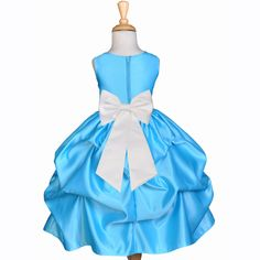 Turquoise Pick-up Satin Flower Girl Dress Princess Bridesmaid Beauty Pageant Holiday Special Occasions 208T1