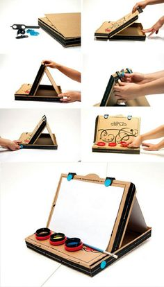 Kids art easel from a pizza box Kids Crafts, Craft Projects, Recycling Projects For School, Cardboard Crafts, Paper Crafts, Kids Art Easel, Diy Easel, Genius Ideas, Art Party