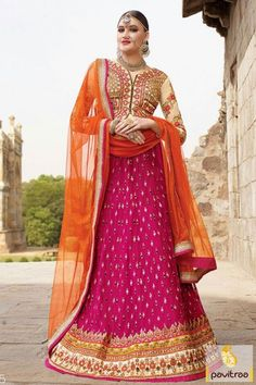 Leads a new modern era with decent magenta orange silk designer chaniya choli for wedding. Amazing colorful designer lehenga choli is worth to buy for engagement ceremony. #lehengacholi, #lehengastylesaree,  #chaniyacholi, #ghaghracholi, #weddingbridalcholi, #discountoffer, #festivalcholi, #marriagewear, #designerlehengacholi More Product: http://www.pavitraa.in/catalogs/latest-designer-lehenga-choli-for-marriage/ Any Query: Call Us:+91-7698234040   E-mail: info@pavitraa.in