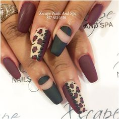 """#mattenails #leopardnails"""