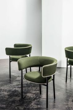 Design practice Studio David Thulstrup has created a collection of chairs with thick upholstered backrests inspired by varying font thicknesses for Danish furniture brand Møbel Copenhagen.