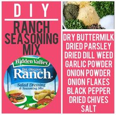 Ranch Dressing/Seasoning Mix Recipe: For veggie dips and salads store in airtight bag and combine with mayo and milk for creamy ranch dip. A healthier option, substitute Greek yogurt for mayo. Homemade Dry Mixes, Homemade Ranch Seasoning, Ranch Seasoning Mix, Homemade Spices, Homemade Seasonings, Cooking Tips, Cooking Recipes, Spice Mixes, Kitchen