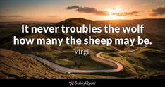 It never troubles the wolf how many the sheep may be. - Virgil