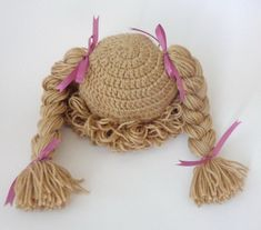 Luz Brown col Patch Kid sombrero inspirado Crochet peluca o