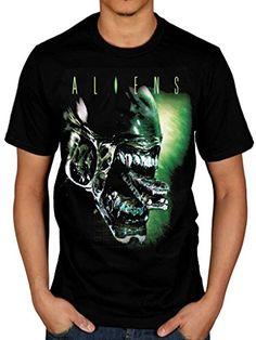 66ed4f148 AWDIP Men s Official Aliens Alien Head T-Shirt Space Planet Spaceship Movie  Film