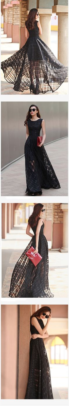 New Women Summer Dress Elegant Ladies Vintage Black Organza Sleeveless Long Beach Maxi Dress Sundress Vestidos Femininos – greatdress.net