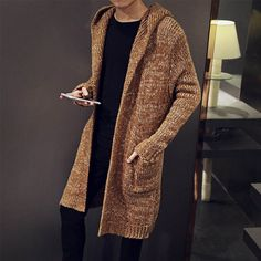 Autumn Winter Loose Long Mens Cardigans Sweaters New Fashion Big Size Jumpers Mens Hooded Sueter Knit Sweater Jersey Sudaderas