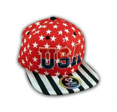 ★ This is a High Quality Red USA Star Spangled Snapback Hat from Top Level. It has Embroidered USA in on the Front! With Black and White Print! Stars and Stripes! It's an adjustable Baseball Style Snapback Cap with a Flat Bill Visor! Hip Hop Hat, Star Spangled, Snapback Cap, Stripes, Flats, 3d, Baseball, Black And White, Style