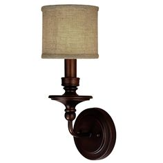 Springfield Sconce with Linen Drum Shade 1 LT - 3 finishes! - 16x6x7 - Shades of Light
