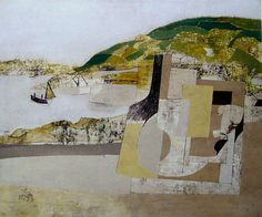Ives School ~ Ben Nicholson ~ November (Mousehole) ~ 1947 ~ Olieverf en potlood op doek op board ~ x cm. ~ The British Council, Londen Abstract Landscape, Landscape Paintings, Abstract Art, Contemporary Landscape, Collages, Tate St Ives, English Artists, British Artists, England