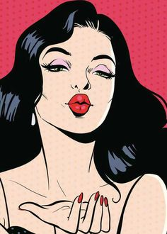 Pop art Drawing Poster Illustration, European and American pop style girl, woman in red lipstick illustration PNG clipart