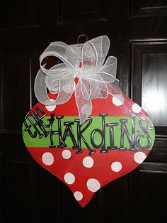 Personalized door hanger  porch decor traditional style Christmas ornament personalized. $28.00, via Etsy.