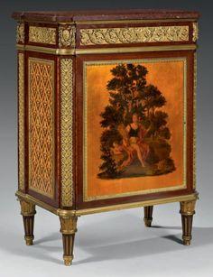 Meuble à hauteur d'appui en placage d'amarante et travers de bois de rose.