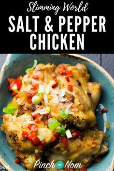 Syn free salt and pepper chicken slimming world recipes - pinchofnom Slimming World Dinners, Slimming World Diet, Slimming Eats, Slimming Recipes, Actifry Recipes Slimming World, Slimming World Recipes Syn Free Chicken, Slimming Worls, Slow Cooker Slimming World, Air Fryer Recipes Slimming World