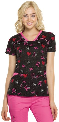 Scrubs - Heartsoul Sprinkled With Love Serenity Scrub Top, Breast Cancer Awareness Ribbon Uniform Clothes, Medical Uniforms, Work Uniforms, Nursing Clothes, Fat Women, Awareness Ribbons, Scrub Tops, Breast Cancer Awareness, Work Fashion