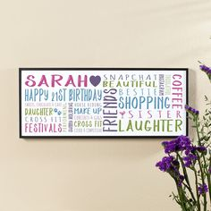 21st Birthday Gift for Her of Personalised Panoramic Word Art (box frame). Beautiful Personalised Word Art Gifts to Commemorate a Landmark Birthday. Easy to Create, Preview on Screen Before You Buy & Fast Free Delivery. Create Now…