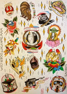 Love this old school Star Wars tattoo flash page Star Wars Tattoo, Tattoo Geek, War Tattoo, Batman Tattoo, Book Tattoo, R2d2 Tattoo, Boba Fett Tattoo, Gaming Tattoo, Tattoo Flash Art