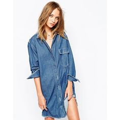 Gat Rimon Agata Longline Denim Shirt Dress (€280) ❤ liked on Polyvore featuring dresses, denim, oversized shirt dress, tall dresses, denim shirt-dress, shirt-dress and long denim shirt dress