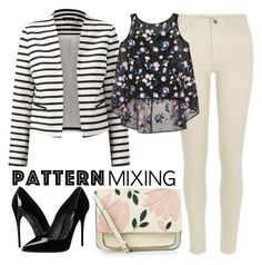 """Pattern Mixing: Stripes and Flowers"" by neringa-ltu ❤ liked on Polyvore featuring River Island, Erdem, Accessorize, Dolce&Gabbana and patternmixing"
