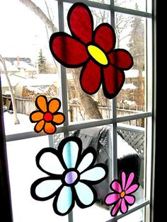 Stained Glass Tissue Paper Flowers - Things to Make and Do, Crafts and Activities for Kids - The Crafty Crow