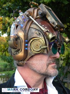Steampunk helmet made for LARP by Mark Cordory Creations
