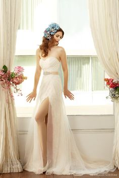 moonlight couture bridal fall 2013 2014 strapless wedding dress slit style h1226