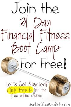 31 Day Financial Fitness Boot Camp- free online course. Throughout this step-by-step Financial Boot Camp course you will receive pointers, money-saving and money-making tips, receive access to valuable downloads, start to get out of debt even faster, and be reminded of other great ways to manage money. Debt, Debt Payoff #Debt