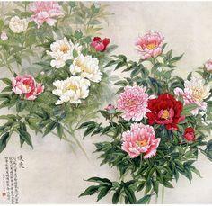 Peonies, Chinese painting