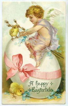 ANGEL Child & Pink Ribbon Egg Easter Greeting Postcard (04/21/2011)