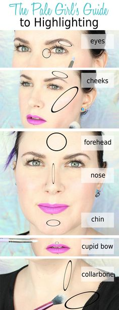 Best skin tips make up The Pale Girls Guide to Highlighting. Courtney shows you where to highlight on the face and body, the tools to use and the best products for pale skin. Makeup Tips, Beauty Makeup, Eye Makeup, 2017 Makeup, Makeup Trends, Makeup Ideas, Makeup For Pale Skin, Makeup Inspo, How To Do Makeup