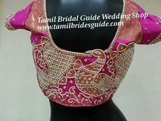 South Indian Bridal Saree Blouse Hair Ideas For 2019 Bridal Dupatta, Indian Bridal Sarees, Indian Bridal Wear, South Indian Bridal Jewellery, Bridal Jewelry Vintage, Blouse Designs Silk, Bridal Blouse Designs, Asian Bride, Bride Indian
