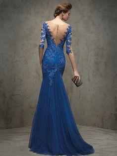 Trumpet/Mermaid Bateau Floor-length Tulle Prom Dresses/Evening Dresses #SP5282